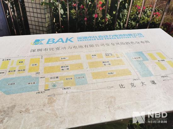 深圳比克电池门口的安闲  风险四色分布图,从中可见有三处属于高峰厂 图片来源:每经记者 欧阳凯 摄