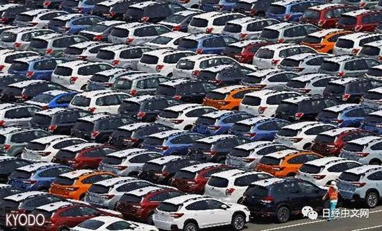 等待向北美市场出口的日本汽车(日本东扇岛的物流中心,KYODO)