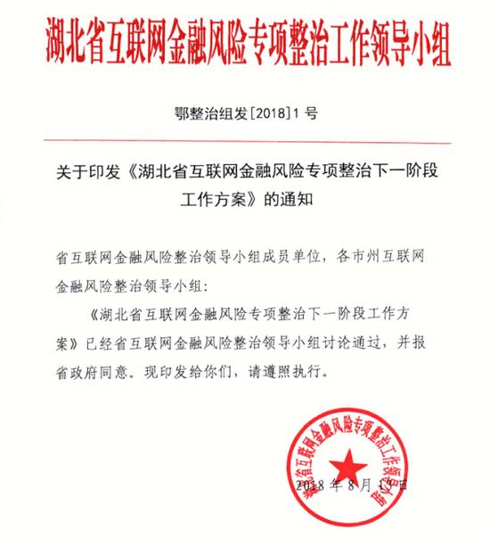 湖北省发文明确互金整治重点 选取2至3家实施处罚
