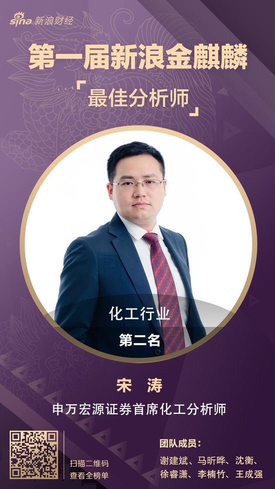 宋涛获金麒麟最佳分析师化工行业第二名(附投资观点)