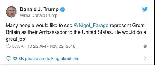 """英驻美大使的""""机密备忘录""""被曝光 气坏了特朗普"""
