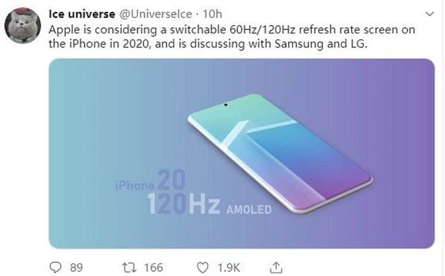 传苹果iPhone将配120Hz屏幕 只是稍有遗憾