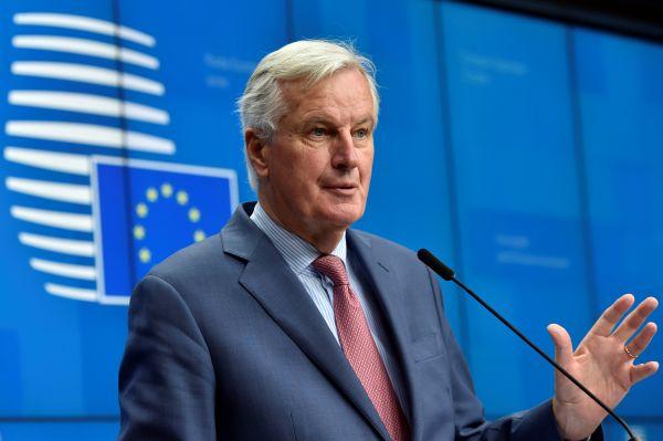 欧盟首席谈判代表米歇尔・巴尼耶19日在布鲁塞尔出席记者会(路透社)