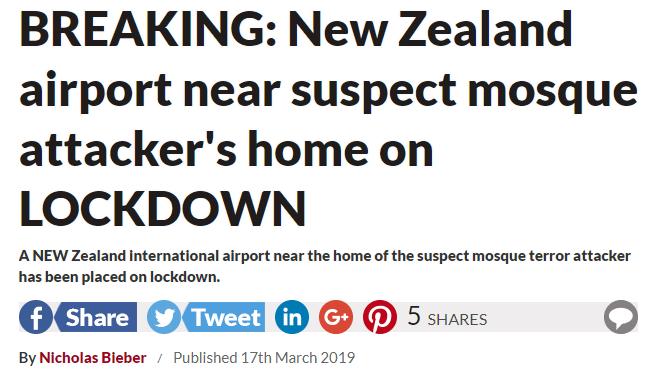 新西兰枪击案疑犯所住小镇机场发现可疑包裹 机