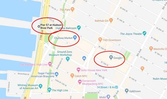 (三处红圈从左到右依次为:Pier 57码头、切尔西大楼、谷歌纽约办公楼,圣约翰码头在南边不远,又称40号码头)