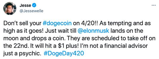 #DogeDay420#冲上推特热搜 狗狗币4月20日能否真的突破1美元?_新浪财经_新浪网