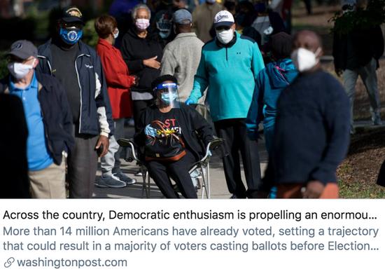 民主党选民的投票热情正在全美范围内推动提前投票的人数。/《华盛顿邮报》报道截图