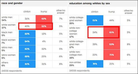 2016年大选CNN统计的出口民调