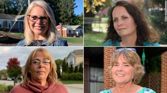 CNN采访了四位宾州的前特朗普支持者,她们表示今年会投拜登(右下为斯梅泽)