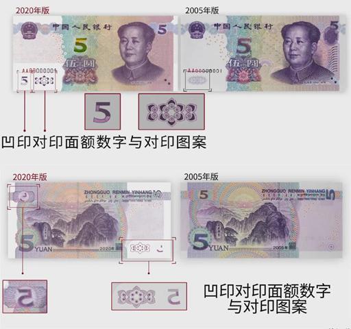 凹印对印面额数字与凹印对印图案。来源:中国人民银行微信号