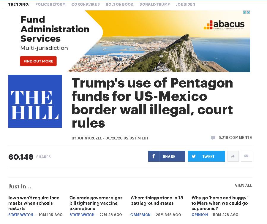 """特朗普又""""甩锅""""墨西哥 但建墙行为被指违宪"""