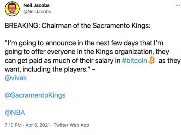 国王队董事长:将用比特币支付NBA球员薪资|印度_新浪财经_新浪网