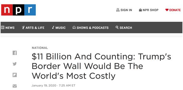 110亿美元 美媒:特朗普的边境墙将是世界最昂贵之墙 美原油外盘开户网