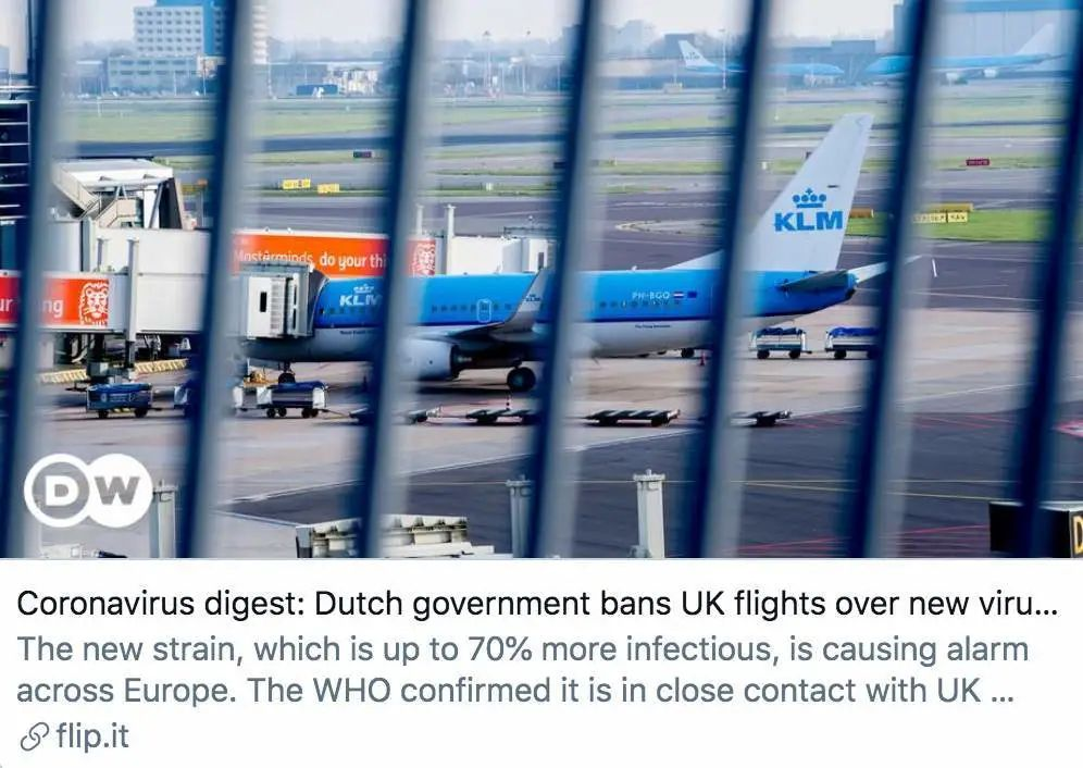 因发现变异新冠病毒,荷兰政府禁止英国航班飞抵德国之声报道截图