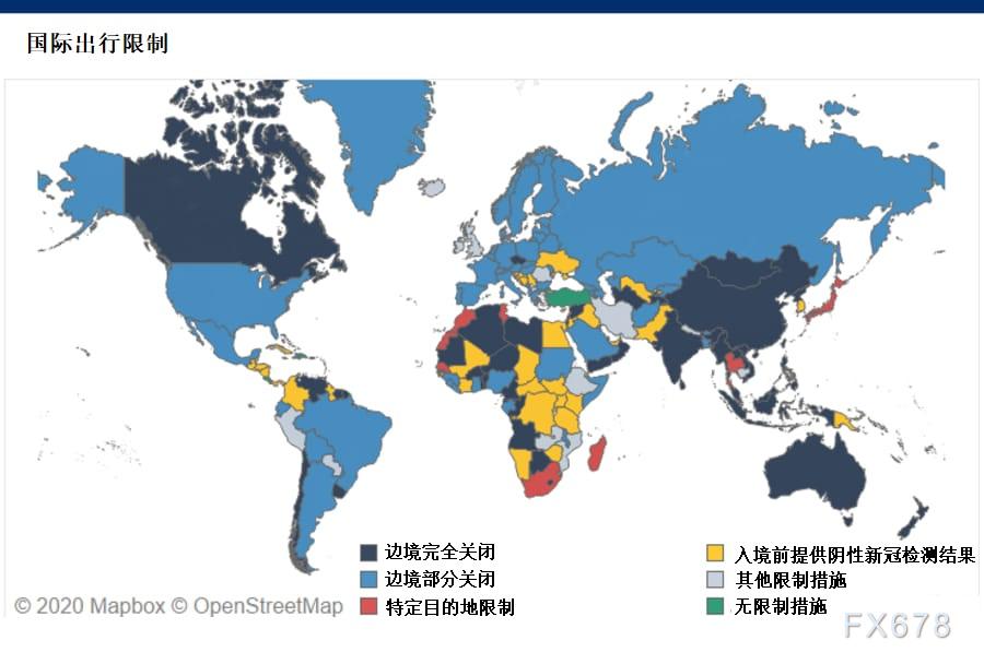(因新冠疫情而实施的全球旅行限制地图)