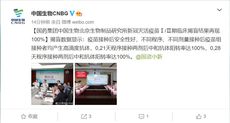 中国生物新冠灭活疫苗Ⅰ/Ⅱ期临床揭盲结果再现100%