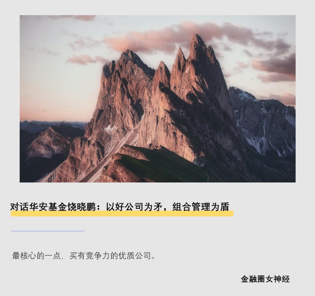 对话华安基金饶晓鹏:以好公司为矛,组合管理为盾