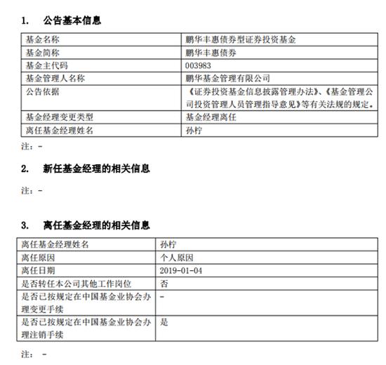 鹏华基金孙柠离职 卸任四只产品的基金经理