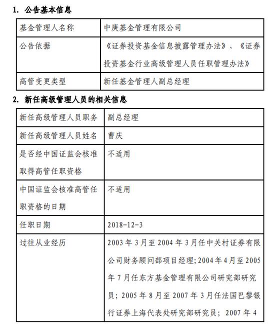 中庚基金新任曹庆为副总经理 曾任汇丰晋信基金副总