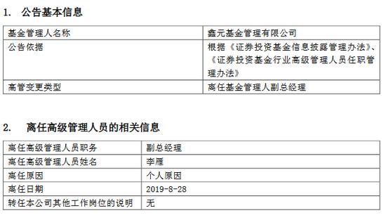 鑫元基金副总经理李雁离任 曾涉债市反腐被协助调查