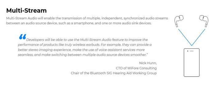 LEAudio支持多重音频流,可以应用于同声传译之类的场景
