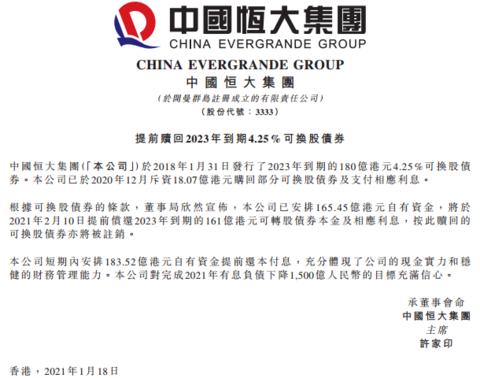 中国恒大:已安排165亿港元自有资金提前偿债