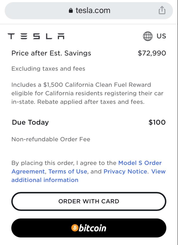 特斯拉美国官网支持使用比特币进行支付 比特币短线拉升1000美元