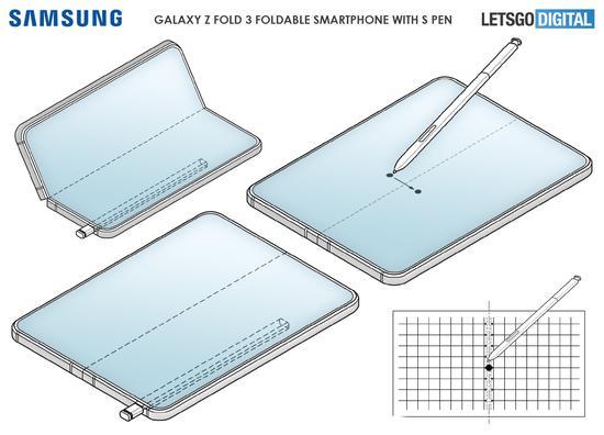 疑似三星Galaxy Z Fold 3专利公布,附带S Pen