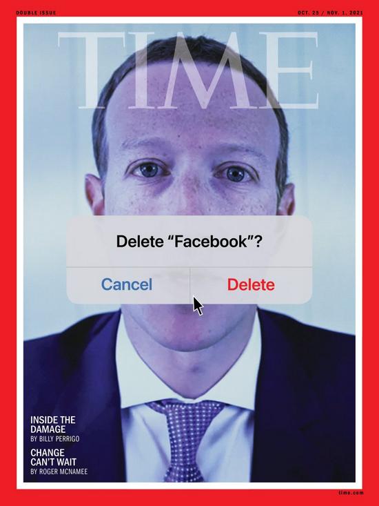 扎克伯格以诡异的形象登上   《时代周刊》的封面。