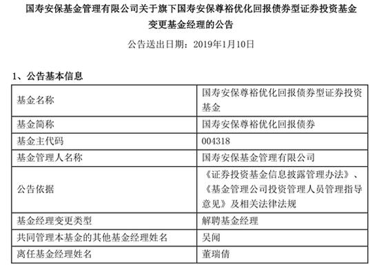 董瑞倩不再担任国寿安保旗下两只基金基金经理
