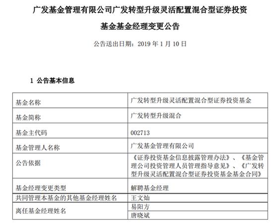 易阳方、唐晓斌因工作原因不再管理广发转型升级混合