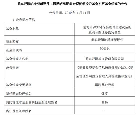 前海开源沪港深新硬件增聘魏淳为基金经理